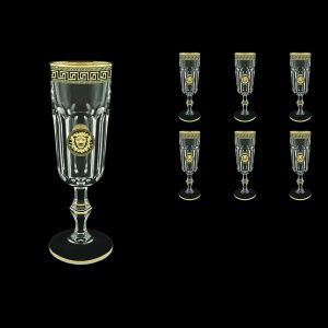 Provenza CFL PLLGB Champagne Flutes 160ml 6pcs in Antique&Leo Golden Black Decor (42-138)
