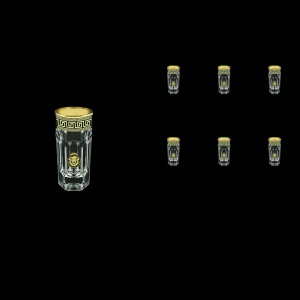 Provenza B5 PLGB Liqueur Tumblers 50ml 6pcs in Antique&Leo Golden Black Decor (42-142)