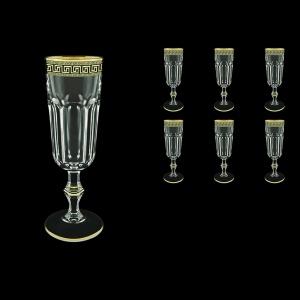 Provenza CFL PAGB Champagne Flutes 160ml 6pcs in Antique Golden Black Decor (57-138/b)