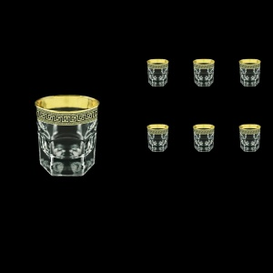 Provenza B3 PAGB Whisky Glasses 185ml 6pcs in Antique Golden Black Decor (57-159/b)