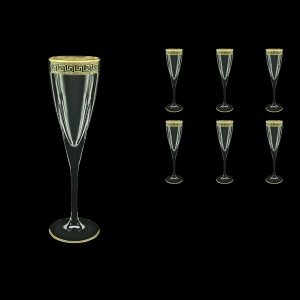 Fusion CFL FAGB b Champagne Flutes 170ml 6pcs in Antique Golden Black Decor (57-434/b)