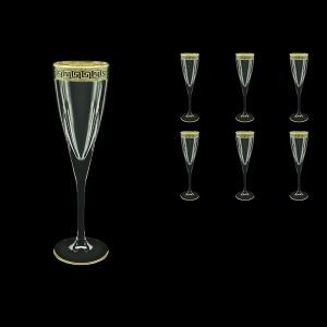 Fusion CFL FAGB b Champagne Flutes 170ml 6pcs in Antique Golden Black Decor (57-434/b)