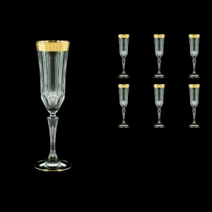 Adagio CFL AAGC b Champagne Flutes 180ml 6pcs in Antique Golden Classic Decor (486/b)
