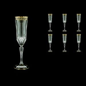 Adagio CFL AAGB b Champagne Flutes 180ml 6pcs in Antique Golden Black Decor (57-486/b)