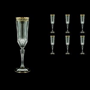 Adagio CFL AAGB b Champagne Flutes 180ml 6pcs in Antique Golden Black Decor (57-486/b)