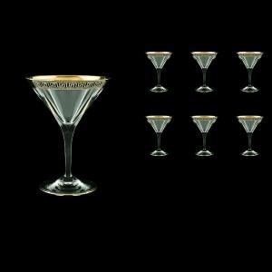 Fusion CMT FAGB b Martini Glasses 230ml 6pcs in Antique Golden Black Decor (57-415/b)