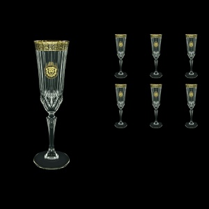 Adagio CFL AOGB Champagne Flutes 180ml 6pcs in Lilit&Leo Golden Black Decor (41-486)