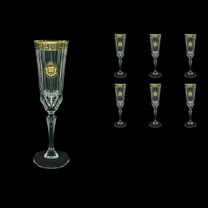 Adagio CFL AOGB Champagne Flutes 180ml 6pcs in Lilit&Leo Golden Black Decor (41-486)