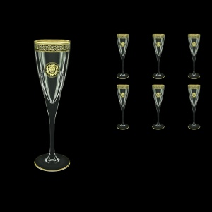 Fusion CFL FOGB Champagne Flutes 170ml 6pcs in Lilit&Leo Golden Black Decor (41-434)
