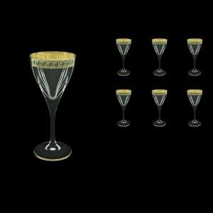 Fusion C3 FAGB b Wine Glasses 210ml 6pcs in Antique Golden Black Decor (57-431/b)