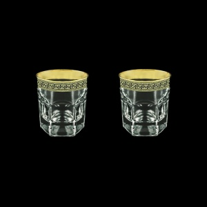 Provenza B2 PAGB Whisky Glasses 280ml 2pcs in Antique Golden Black Decor (57-136/2/b)
