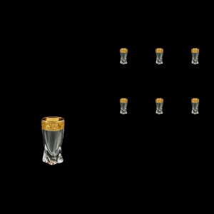 Bohemia Quadro B5 QNGC Liqueur Tumblers 50ml 6pcs in Romance Golden Classic Decor (33-464)