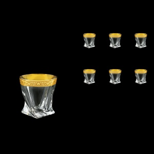 Bohemia Quadro B2 QNGC Whisky Glasses 340ml 6pcs in Romance Golden Classic Decor (33-465)