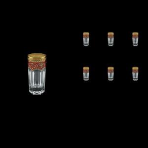 Provenza B5 PEGR Liqueur Tumblers 50ml 6pcs in Flora´s Empire Golden Red Decor (22-520)