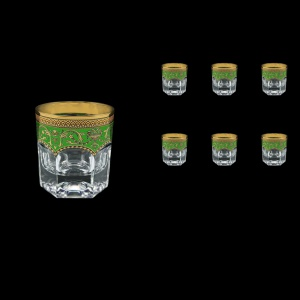 Provenza B2 PEGG Whisky Glasses 280ml 6pcs in Flora´s Empire Golden Green Decor (24-527)