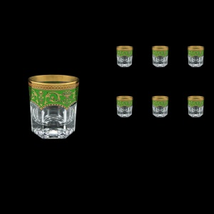 Provenza B3 PEGG Whisky Glasses 185ml 6pcs in Flora´s Empire Golden Green Decor (24-526)