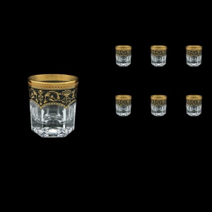 Provenza B3 PEGB Whisky Glasses 185ml 6pcs in Flora´s Empire Golden Black Decor (26-526)