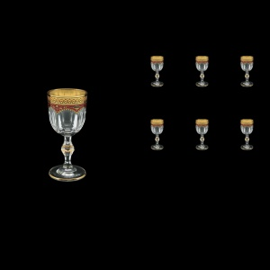 Provenza C5 PEGR Liqueur Glasses 50ml 6pcs in Flora´s Empire Golden Red Decor (22-521)