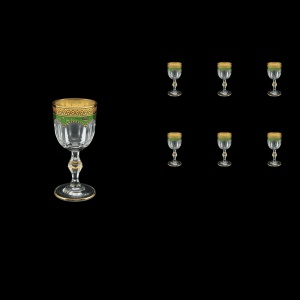Provenza C5 PEGG Liqueur Glasses 50ml 6pcs in Flora´s Empire Golden Green Decor (24-521)