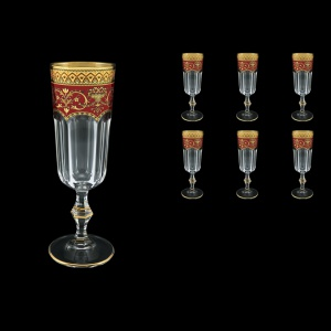 Provenza CFL PEGR Champagne Flutes 160ml 6pcs in Flora´s Empire Golden Red Decor (22-524)