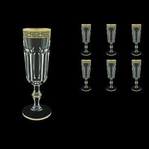 Provenza CFL PMGB Champagne Flutes 160ml 6pcs in Lilit Golden Black Decor (31-138)