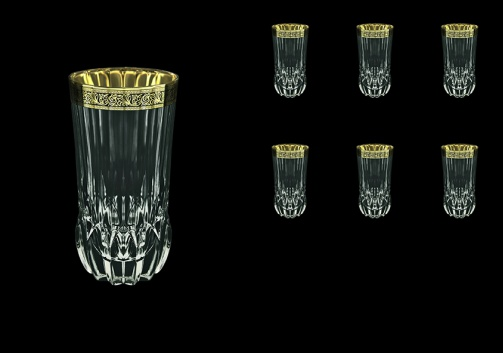 Adagio B0 AMGB Water Glasses 400ml 6pcs in Lilit Golden Black Decor (31-484)