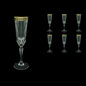 Adagio CFL AMGB Champagne Flutes 180ml 6pcs in Lilit Golden Black Decor (31-486)