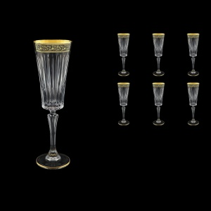 Timeless CFL TMGB Champagne Fluetes 210ml 6pcs in Lilit Golden Black Decor (31-290)