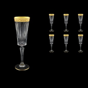 Timeless CFL TNGC Champagne Fluetes 210ml 6pcs in Romance Golden Classic Decor (33-290)