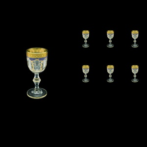 Provenza C5 PPGC Liqueur Glasses 50ml 6pcs in Persa Golden Blue Decor (73-268)