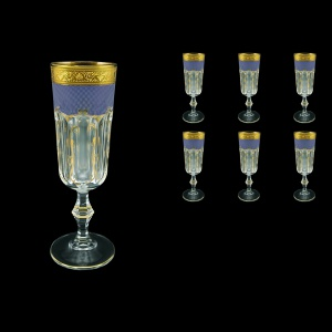 Provenza CFL PPGC Champagne Flutes 160ml 6pcs in Persa Golden Blue Decor (73-271)