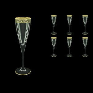 Fusion CFL FMGB Champagne Flutes 170ml 6pcs in Lilit Golden Black Decor (31-434)