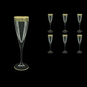 Fusion CFL FMGB Champagne Flutes 170ml 6pcs in Lilit Golden Black Decor (31-434)
