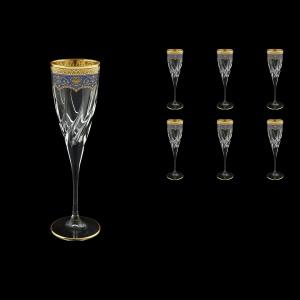 Trix CFL TEGC Champagne Flutes 120ml 6pcs in Flora´s Empire Golden Blue Decor (23-564)