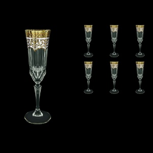Adagio CFL AEGW Champagne Flutes 180ml 6pcs in Flora´s Empire Golden White Decor (21-594)