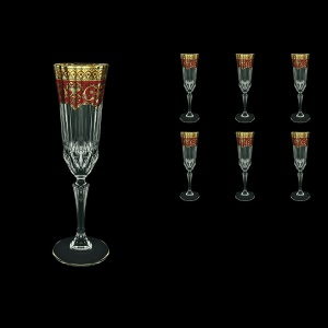 Adagio CFL AEGR Champagne Flutes 180ml 6pcs in Flora´s Empire Golden Red Decor (22-594)