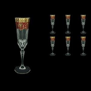 Adagio CFL AEGR Champagne Flutes 180ml 6pcs in Flora´s Empire Golden Red Decor (22-594)