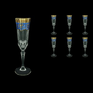 Adagio CFL AEGC Champagne Flutes 180ml 6pcs in Flora´s Empire Golden Blue Decor (23-594)