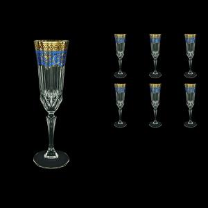 Adagio CFL AEGC Champagne Flutes 180ml 6pcs in Flora´s Empire Golden Blue Decor (23-594)