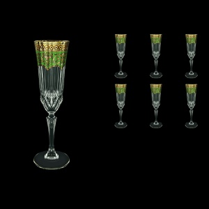 Adagio CFL AEGG Champagne Flutes 180ml 6pcs in Flora´s Empire Golden Green Decor (24-594)