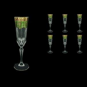 Adagio CFL AEGG Champagne Flutes 180ml 6pcs in Flora´s Empire Golden Green Decor (24-594)