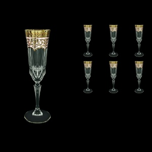 Adagio CFL AEGI Champagne Flutes 180ml 6pcs in Flora´s Empire Golden Ivory Decor (25-594)