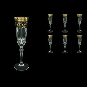 Adagio CFL AEGB Champagne Flutes 180ml 6pcs in Flora´s Empire Golden Black Decor (26-594)