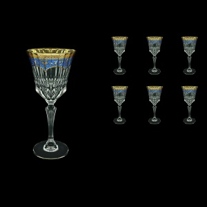 Adagio C2 AEGC Wine Glasses 280ml 6pcs in Flora´s Empire Golden Blue Decor (23-593)