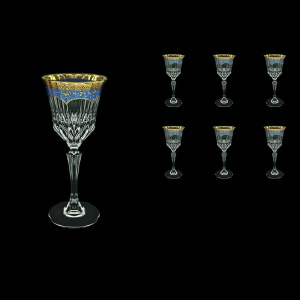 Adagio C3 AEGC Wine Glasses 220ml 6pcs in Flora´s Empire Golden Blue Decor (23-592)