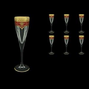 Fusion CFL FEGR Champagne Flutes 170ml 6pcs in Flora´s Empire Golden Red Decor (22-545)