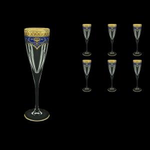 Fusion CFL FEGC Champagne Flutes 170ml 6pcs in Flora´s Empire Golden Blue Decor (23-545)