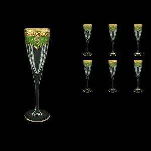 Fusion CFL FEGG Champagne Flutes 170ml 6pcs in Flora´s Empire Golden Green Decor (24-545)