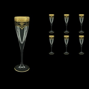 Fusion CFL FEGB Champagne Flutes 170ml 6pcs in Flora´s Empire Golden Black Decor (26-545)