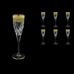 Trix CFL TEGG Champagne Flutes 120ml 6pcs in Flora´s Empire Golden Green Decor (24-564)